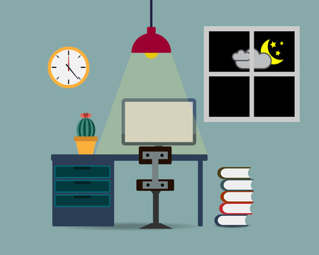 night table: Working Table in Room at Night Vector