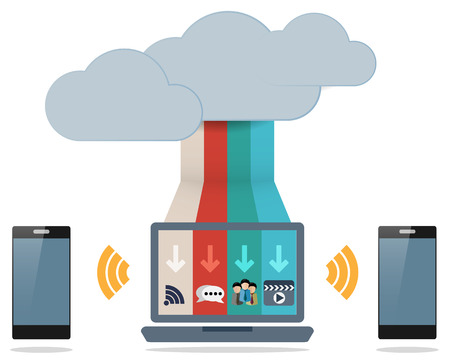 Cloud and Computing Concept with Communication Icon Symbol Vector Vector