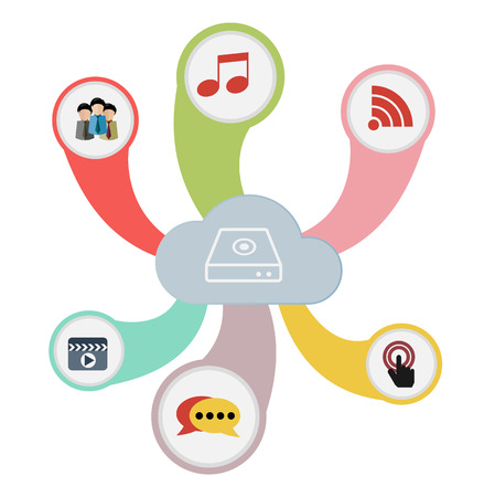 Cloud Computing Concept with Communication Icon Symbol Vector Vector
