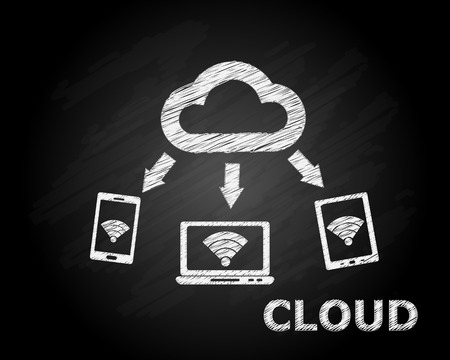 Cloud Computing Concept Sketch on Black Board Vector