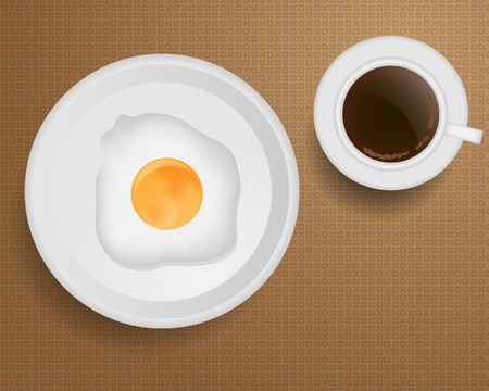 Breakfast with Coffee and Fried Egg Vector Vector