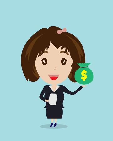 bag cartoon: Business Woman and Money Bag Cartoon Vector,Business Concept Illustration