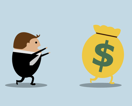 bag cartoon: Businessman Running Catching Money Bag Cartoon Vector, Business Concept Illustration