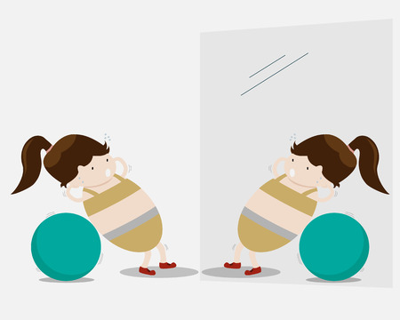 Woman Exercise with Ball Cartoon Vector Illustration Vector