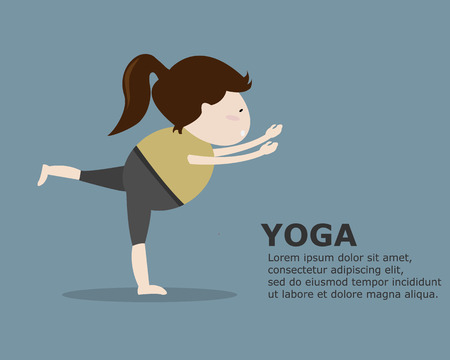 Woman in Yoga Pose Cartoon Vector Illustration Illustration