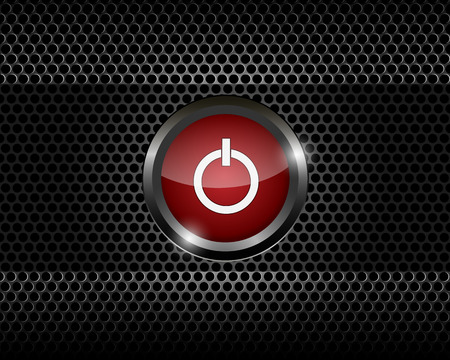 red power button on black metal mesh background vector illustration Vector