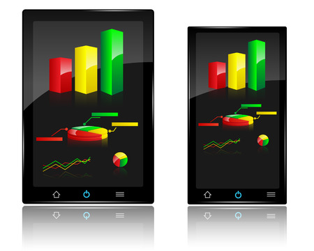Smartphone and Tablet with Charts and Graph on Display Illustration Vector