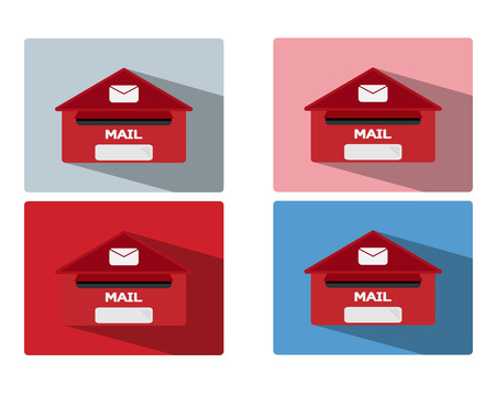 letterbox: red mailbox with long shadow illustrator