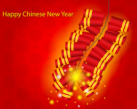 Happy Chinese New Year with Fire Cracker Background Vector Illustration