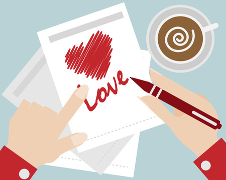 hand write: human hand write red heart and love message cartoon vector illustration