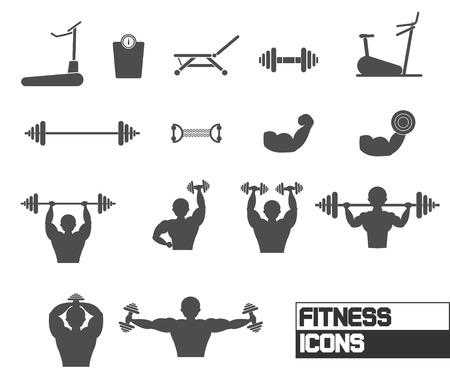 fitness men: Fitness y Entrenamiento con pesas Iconos Vector