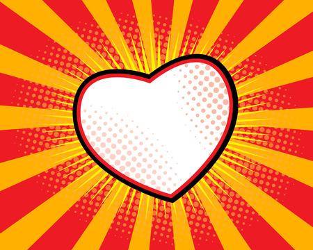 Heart Shape Comic Book ,Pop art Sunburst Background Vector Illustration Vettoriali