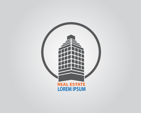 construction companies: real estate building logo vector illustration