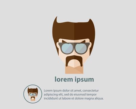 茶髪: 流行に敏感な男性のベクトル図の茶色の髪とメガネを着用