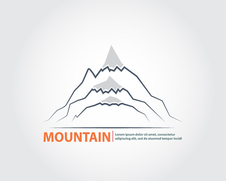layer style: Mountain Line Style    Background,Layer of Blue Mountain Line Style with Sun Background Vector Illustration