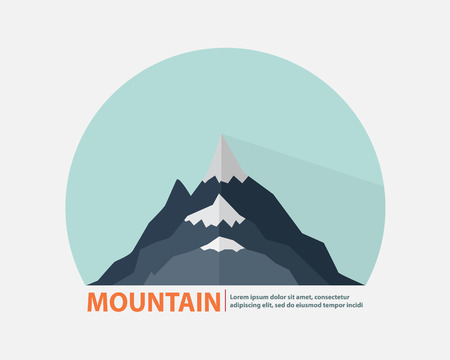 layer style: Mountain   Background,Layer of Blue Mountain Flat Style with Long shadow Background Vector Illustration