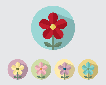 Flower Paper Style ,Flower Flat Design with Long shadow Vector Illustration