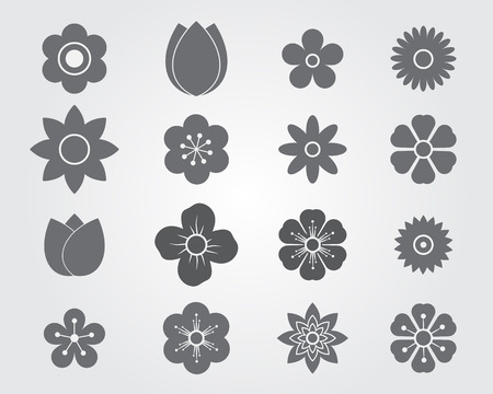 Flower Silhouettes Set,Flower Icon Silhouettes Set Vector Illustration
