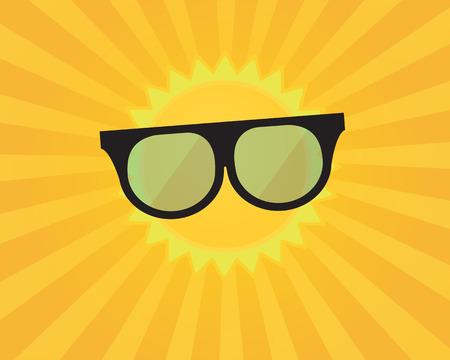 light ray: Summer Background ,Sun with Sunburst and Sunglasses Vector Illustration