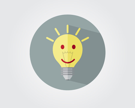 different thinking: smile on bulb flat style with long shadow positive thinking concept vector illustration