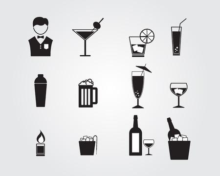 barman a pití alkoholu ikony set vektorové ilustrace