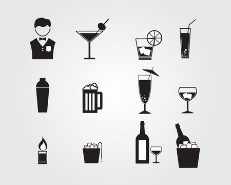 bartender: bartender and alcohol drinking icons set vector illustration