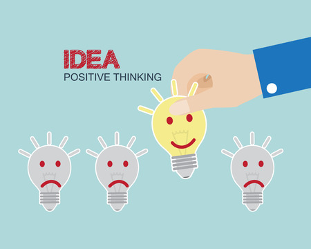 select: Hand Select Smiley Bulb Business Concept Positive thinking idea vector illustration Illustration
