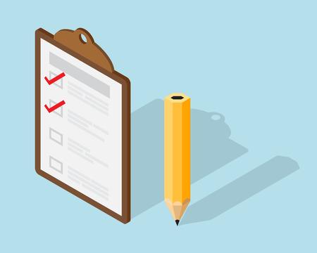 lapiz y papel: Papel Lista de verificaci�n sobre el elemento del Portapapeles y l�piz isom�trico ilustraci�n vectorial