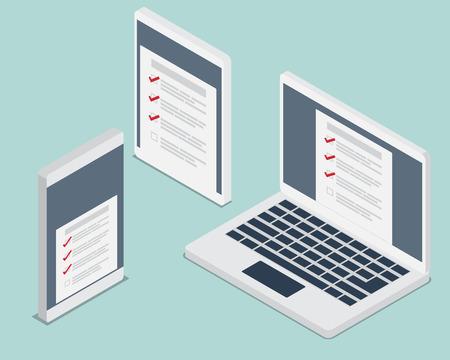 비즈니스 개념 장치, 노트북, 스마트 전화, 태블릿 아이소 메트릭 요소 벡터 일러스트 레이션에 대한 점검표 확인