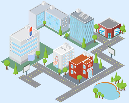 city block: medical city block isometric building element vector illustration