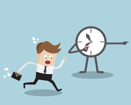Businessman Running with Clock