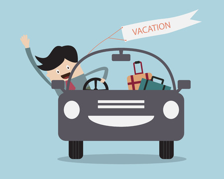 people working: Businessman Happy In Car on his Vacation