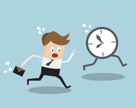 cartoon clock: Businessman Running Following Clock