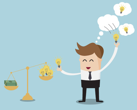 Businessman Pick up Bulb Idea From Bubble and Weighting On Balance Scale with Money