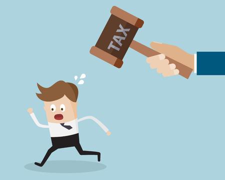 Business-Konzept, Geschäftsmann läuft von der Steuer Hammer von Steuerhinterziehung Cartoon Vektor-Illustration