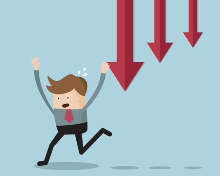 run away: Businessman Run Away From Down Trend Graph