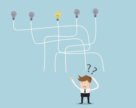 confused: Businessman Choose Line way to get Idea