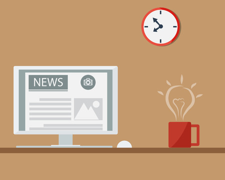 reading news: Get Idea From Coffee and Reading News at Monitor Illustration Illustration