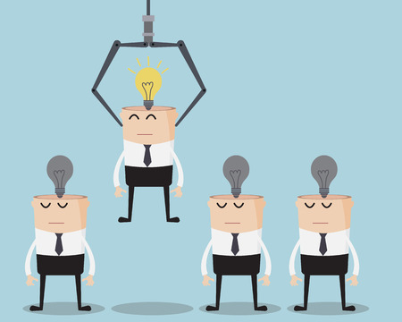 best employee: Choosing Businessman with Bulb Idea