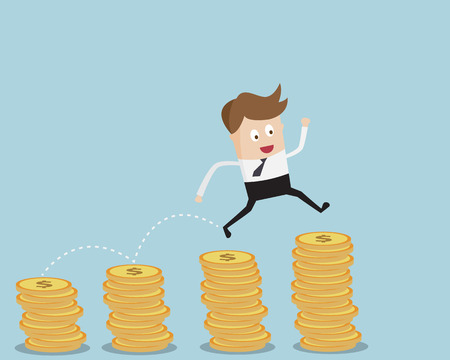 business jump: Business Concept,Businessman Jump On Coins Stack Cartoon Vector Illustration