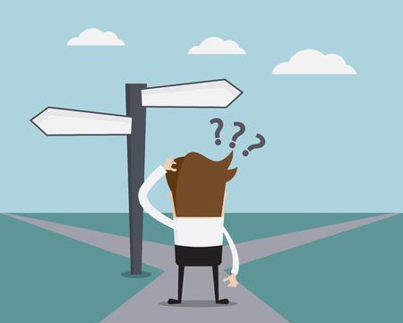 confundido: Concepto de negocio, hombre de negocios confusa en la ilustración de la historieta del vector Crossroad