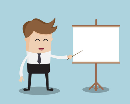 trainer: Businessman and Blank,Empty White Board Cartoon Vector Illustration