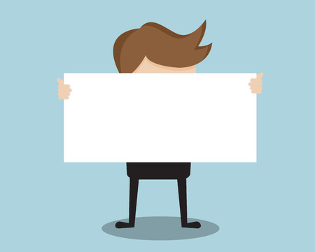 presentation people: Businessman Show Blank Paper Front Cartoon Vector Illustration