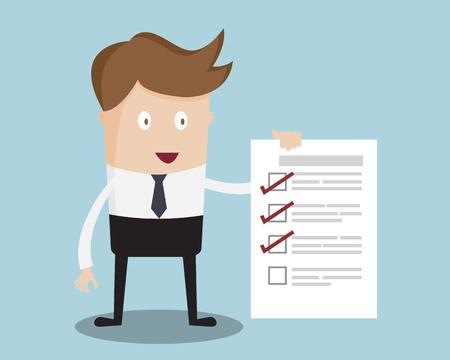 El hombre de negocios muestra CONTROL Ilustración vectorial de dibujos animados Lista de papel
