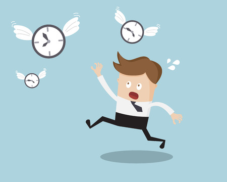 Businessman Running for Catching Her Time Business Concept Cartoon Vector Illustration