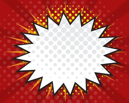 Comic Book Speech Bubble,Pop art Cartoon Red Background Vector Illustration
