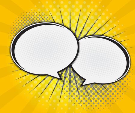 bomb cartoon: Comic Book Speech Bubble,Pop art Cartoon Yellow Background Vector Illustration