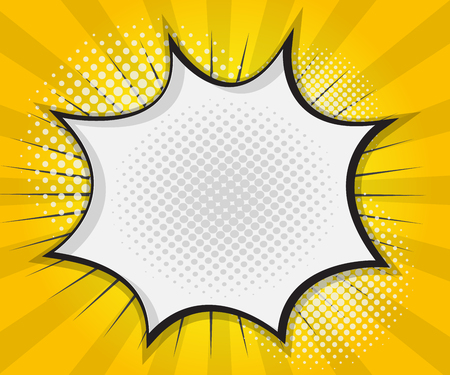 Comic Book Speech Bubble,Pop art Cartoon Yellow Background Vector Illustration