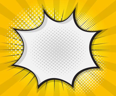 historietas: Comic Book burbuja del discurso, Pop Arte de la historieta Fondo Amarillo Ilustraciones Vectoriales
