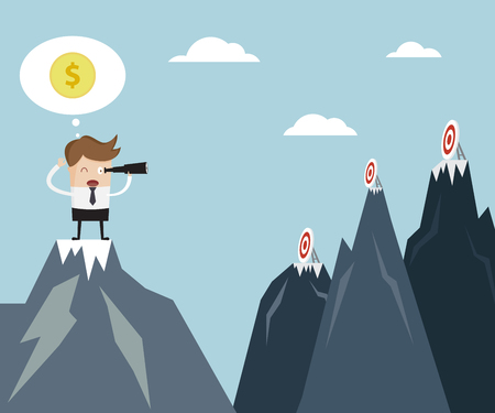 Business Vision Concept, Businessman using binoculars Finding Target On Mountain Cartoon Vector Illustration 向量圖像